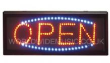 Large Red / Blue LED Window Open Sign With Hanging Kit and power supply.